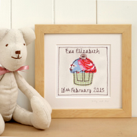 Personalised Cupcake Picture For Girls, Framed Textile Art