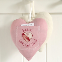Personalised Tooth Fairy Pocket Pillow, Embroidered Heart Gift For Girls