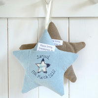 Personalised Tooth Fairy Pocket Pillow, Embroidered Star Gift For Children