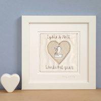 Personalised Wedding Anniversary Gift, Embroidered Framed Picture
