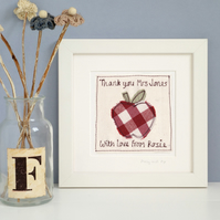 Personalised Thank You Teacher Gift, Embroidered Apple Framed Picture