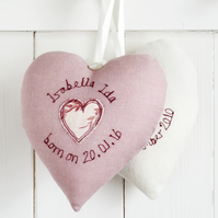 Personalised Fabric Heart, New Baby Girl Gift Or Christening Gift