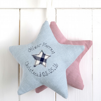 Personalised Fabric Star, New Baby Gift Or Christening Gift