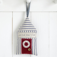 Personalised Hanging Beach Hut Decoration, Housewarming Gift