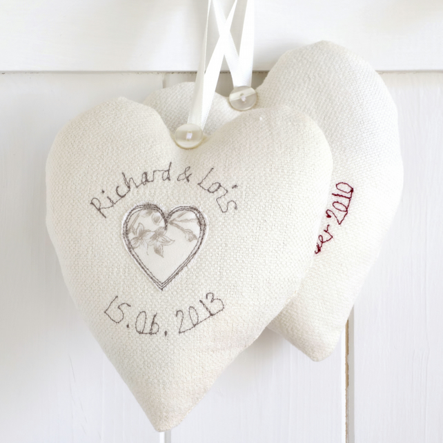 Personalised Wedding Heart Gift, Hanging Heart Decoration