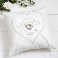 Personalised Wedding Ring Cushion, Embroidered Wedding Ring Pillow