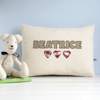 Personalised Girl's Cushion With Hearts, Embroidered Name Cushion