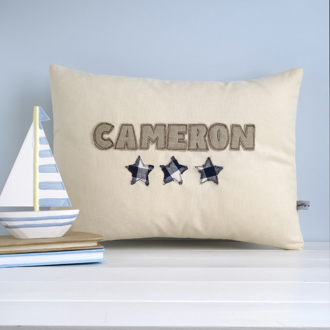 Personalised Boy's Cushion With Stars, Child's Embroidered Pillow