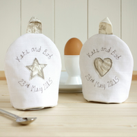 Pair Of Personalised Egg Cosies, Mr And Mrs Egg Cosies