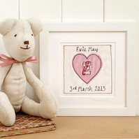 Personalised Embroidered Heart Picture Gift For Girls, Framed Artwork