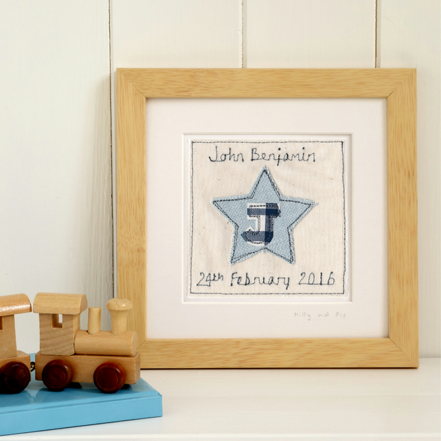 Personalised Embroidered Star Picture Gift For Boys, Framed Art