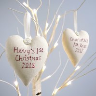 Personalised Hanging Heart Christmas Decoration
