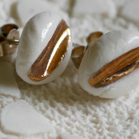 Oval Porcelain Studs With 22K Gold Lustre, Ceramic Jewellery, Handmade Ceramics