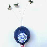 Whimsical Dark Blue 3D Hot Air Balloon Model