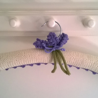 Hand knitted lavender flower ladies coat hanger