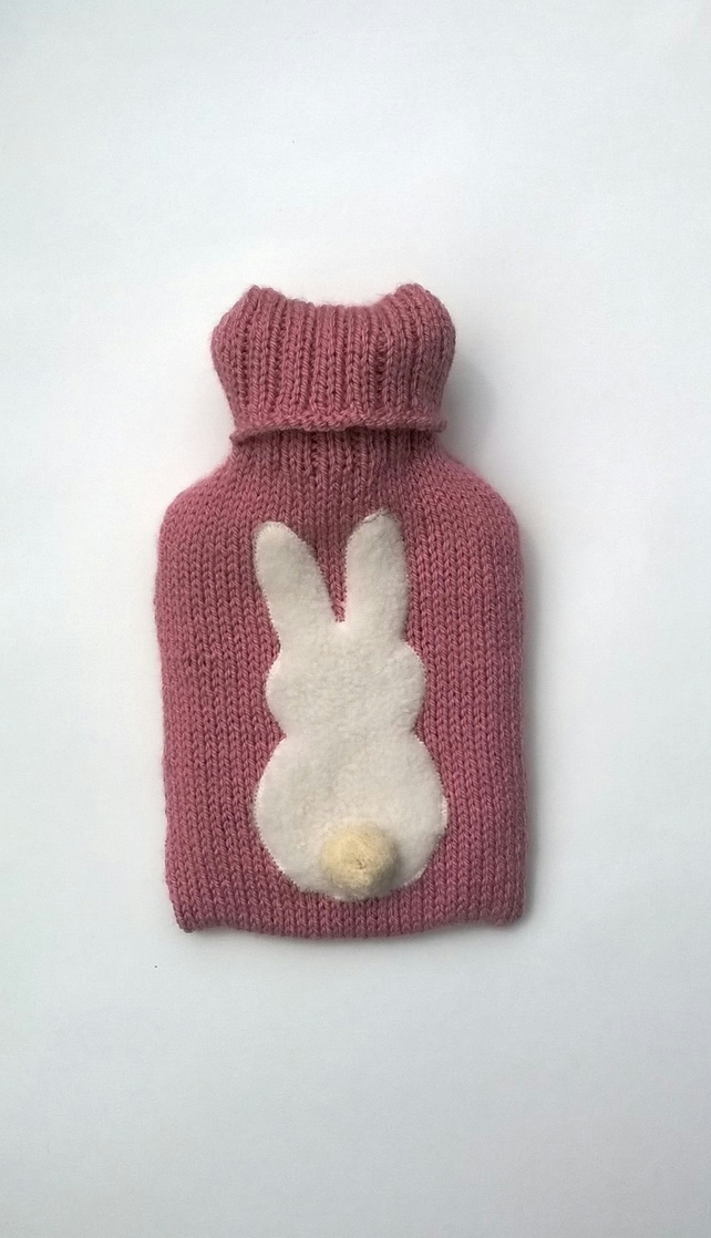 Handmade pink Bunny Hot water Bottle Cover