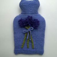 Hand knitted Lavender hot water bottle cover