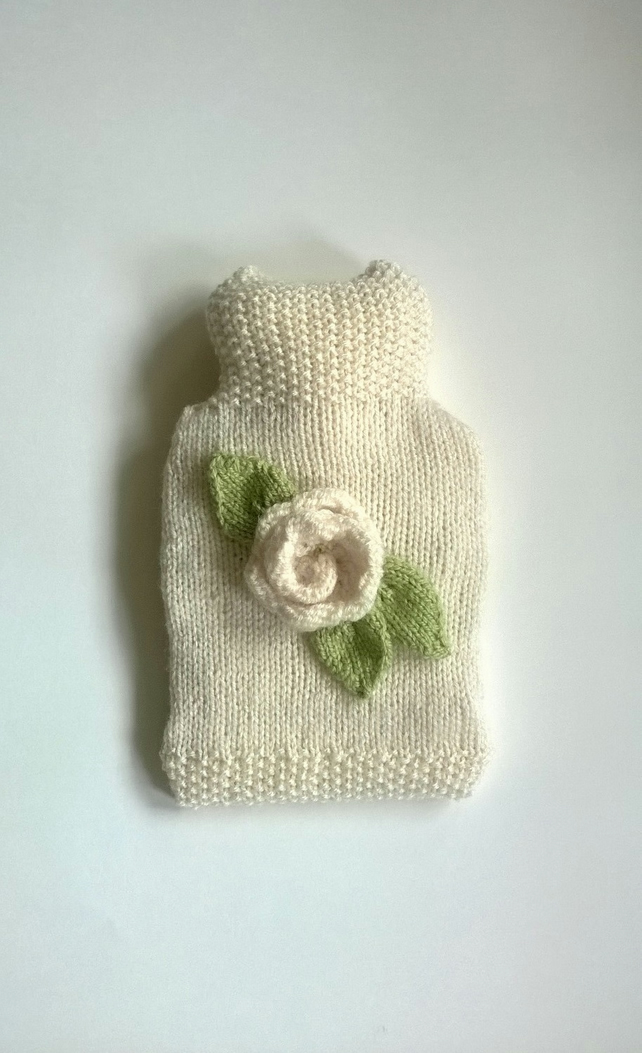 Cream rose hand knitted Hot water Bottle Cover