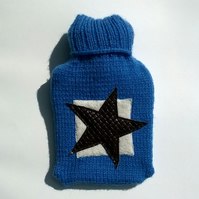 Hand knitted blue Hot Water Bottle Cover with leather star
