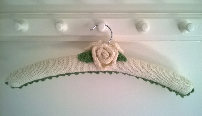 Classic cream rose hand knitted ladies coat hanger