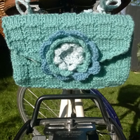 Hand knitted ladies vintage style floral saddle tool bag - green