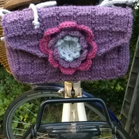 Knitted vintage style ladies saddle tool bag - purple plum
