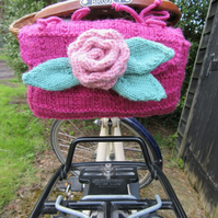 Hand knitted ladies bicycle saddle tool bag - raspberry and rose pink