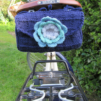 Hand knitted ladies saddle tool bag - navy blue