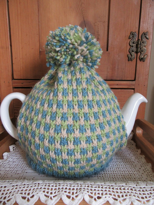 Hand knitted summer tweed tea cosie