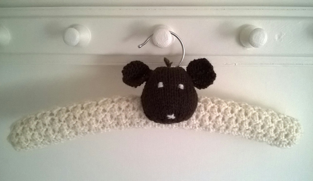 Hand knitted woolly sheep childrens clothes hanger