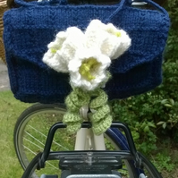 Ladies knitted bike saddle tool bag - navy and crocus
