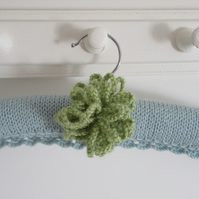 Hand knitted floral allium duck egg blue coat hanger