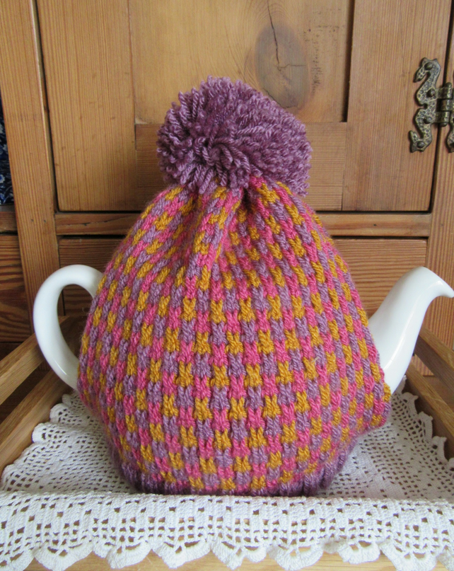 Knitted Spring tweed tea cosie