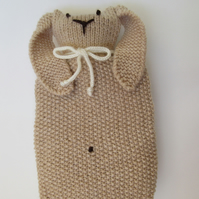 Knitted bunny hot water bottle cover