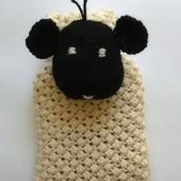 Knitted sheep hot water bottle