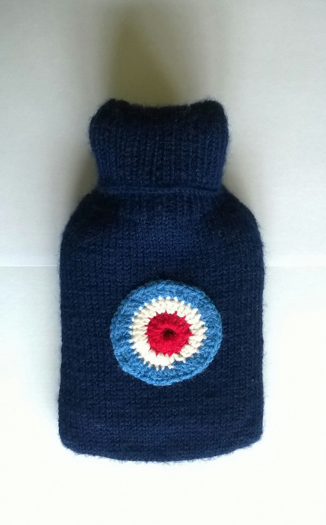 Hand knitted navy blue RAF hot water bottle cover