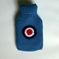 Knitted Air Force blue boys hot water bottle cover