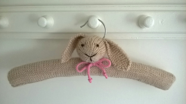 Hand knitted Bunny Clothes Hanger Christening gift