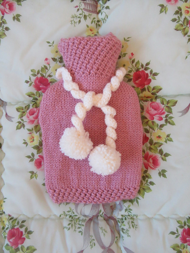 Pink Pompom hot water bottle