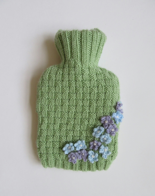 Knitted basket weave hot water bottle cover