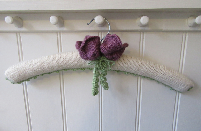Hand knitted 'Queen of the Night Tulip' coat hanger
