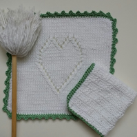 Hand knitted white 100% cotton dishcloths