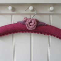 Hand Knitted ladies pink rose coat hanger