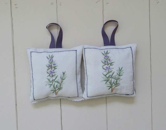 Handmade embroidered lavender bags - lavender
