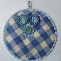 Aga lid mat in blue check