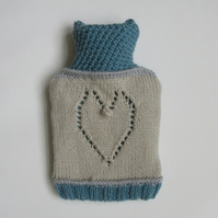 Lace heart and colour block hot water bottle cover