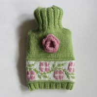 Fairisle rambling rose knitted hot water bottle cover