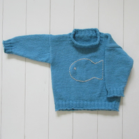 Blue hand knitted Big Fish Jumper 2yrs
