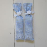 Pale blue gingham fabric English lavender bags