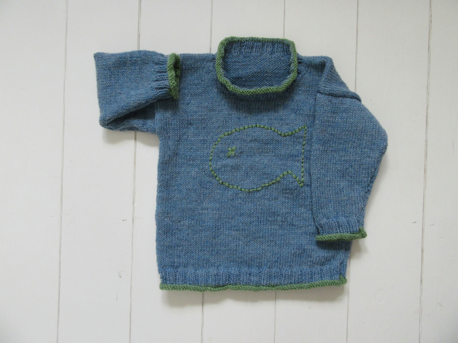 Hand knitted childrens big Jonah fish blue jumper 2 yrs
